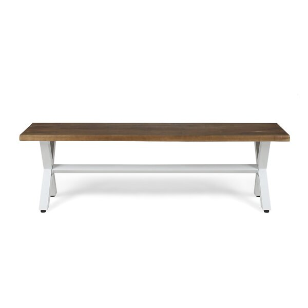 Galyon Wooden and Iron Picnic Bench by Gracie Oaks