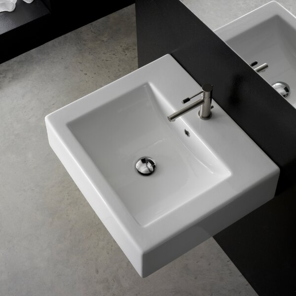 Ceramic 21 Wall Mount Bathroom Sink with Overflow by Scarabeo by Nameeks