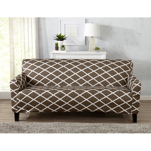 Form Fitting Stretch Diamond Printed Sofa Slipcover by Winston Porter