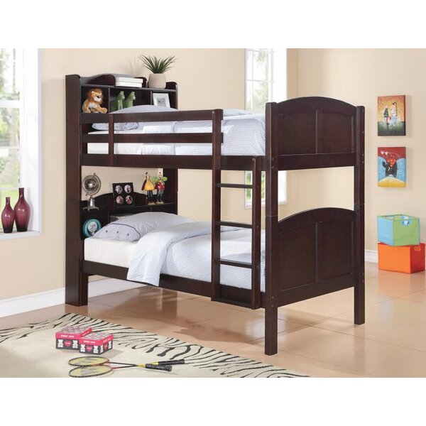 Velazquez Twin Over Twin Bunk Bed with Bookcase by Harriet Bee