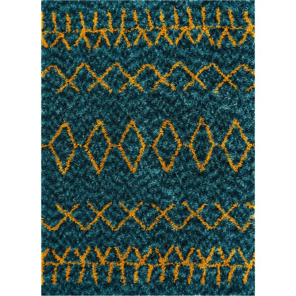 Olszewsk Handmade Shag Faux Fur Blue/Orange Area Rug by Union Rustic