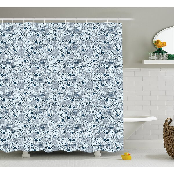 Fish with Bubbles Water Decor Shower Curtain by East Urban Home