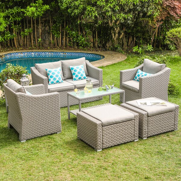 Areswell Outdoor Furniture Conversation Set Warm Gray 7-Piece Rattan Sofa Seating Group with Cushions by Wrought Studio