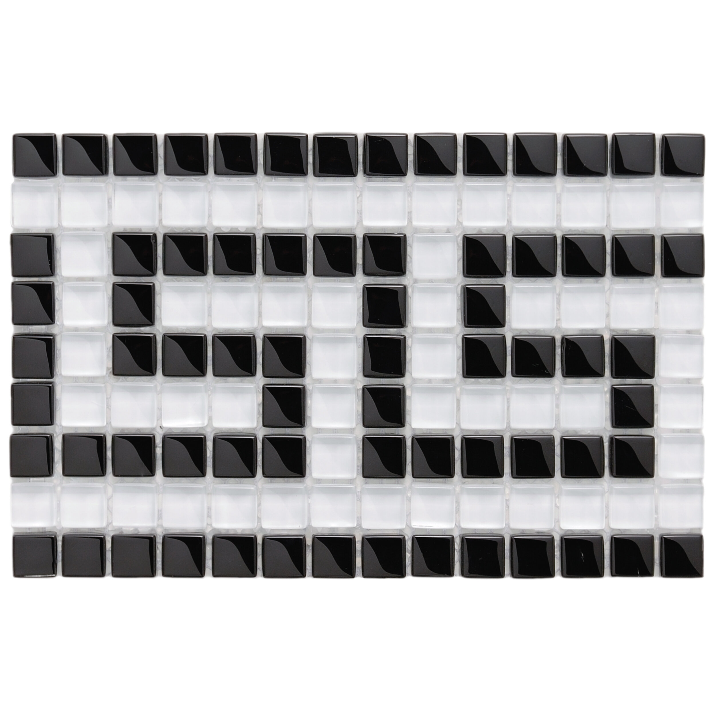 Elitetile Sierra Greek Key 0 57 X Gl Mosaic Tile In Black White Wayfair