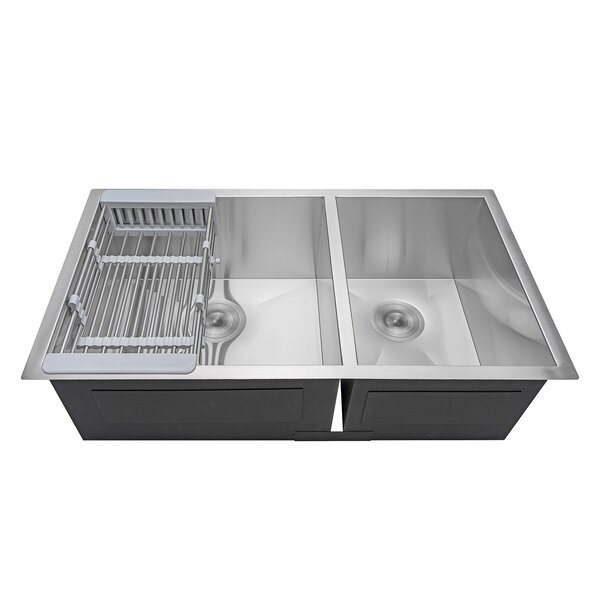 32 x 18 Undermount Stainless Steel Double Bowl 60/40 Kitchen Sink w/ Adjustable Tray and Drain Strainer Kit by AKDY