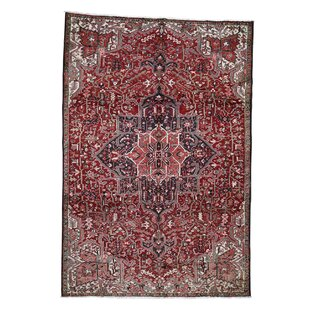 Savings One-of-a-Kind Bagwell Heriz Full Pile Hand-Knotted 7'9 x 11'4 Wool/Cotton Red/Black/Beige Area Rug By Isabelline