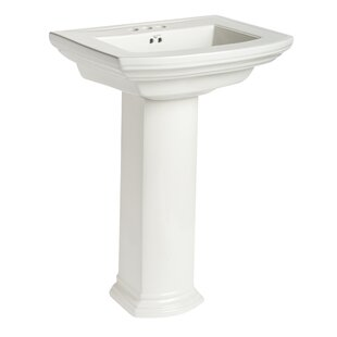 Bargain Barrett Vitreous China 34 Pedestal Bathroom Sink with Overflow By Mansfield Plumbing Products