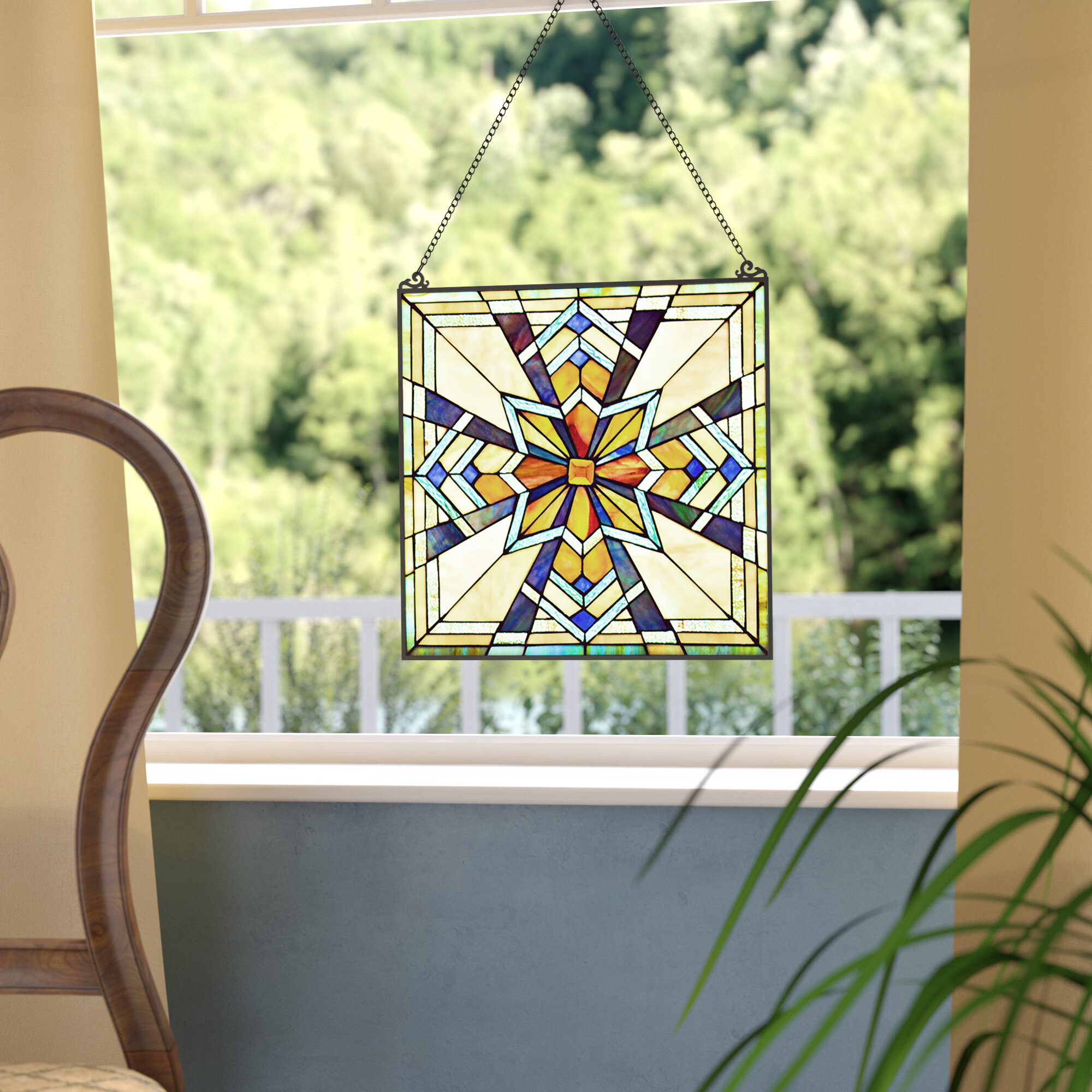Fleur De Lis Living Northern Star Tiffany Style Stained Glass Window ...