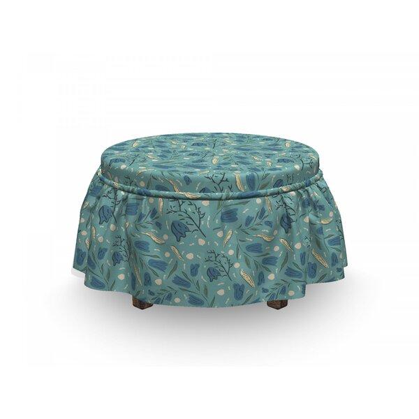 Seafoam Aquarelle Floral Motif 2 Piece Box Cushion Ottoman Slipcover Set By East Urban Home