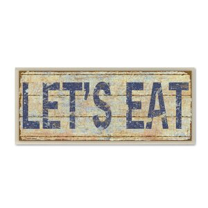 'Let's Eat' Framed Textual Art On Wood by Andover Mills