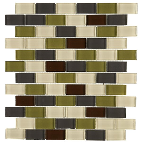 Geneva Brick Joint 12 x 13 Glass Mosaic Tile in Classic Autumn Trail by Itona Tile