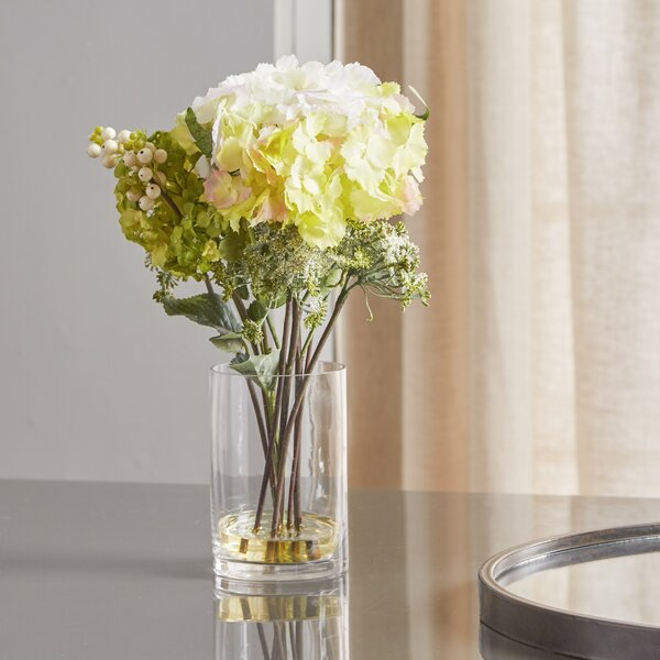 Silk Hydrangeas with Vase by Andover Mills