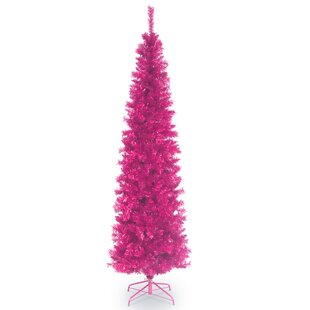Pink Fir Artificial Christmas Tree With Metal Stand