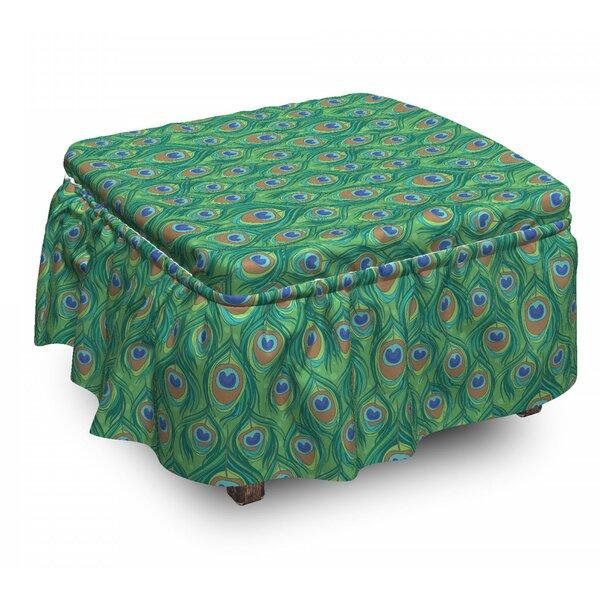 Feather Peafowl Bohemian Design 2 Piece Box Cushion Ottoman Slipcover Set By East Urban Home