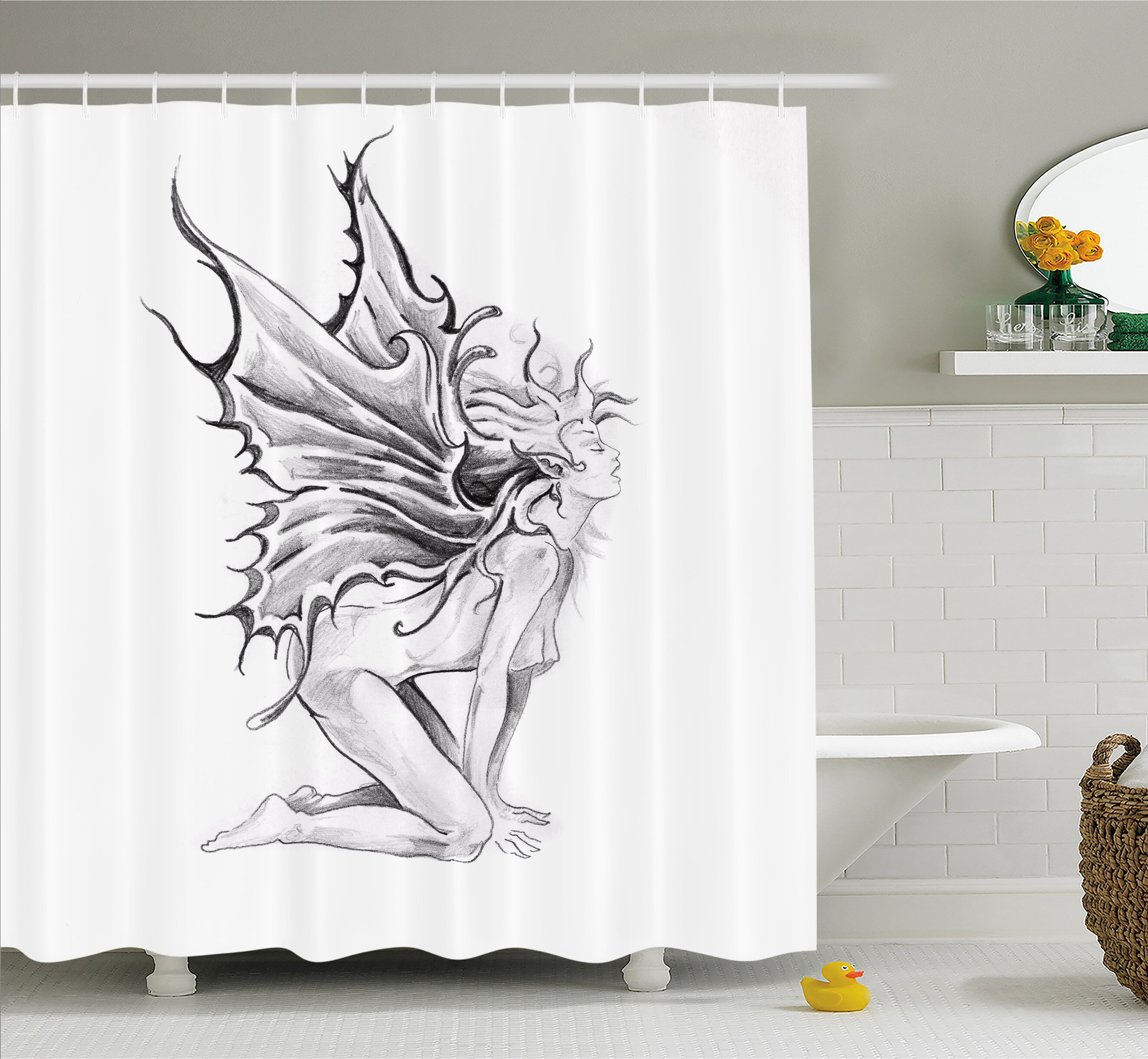 Ambesonne Tattoo Artistic Pencil Drawing Fairy Opening Its Angel Wings Shower Curtain Set