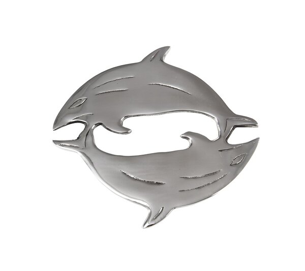 Flint 2 Dolphins Round Trivet (Set of 2) by Rosecliff Heights