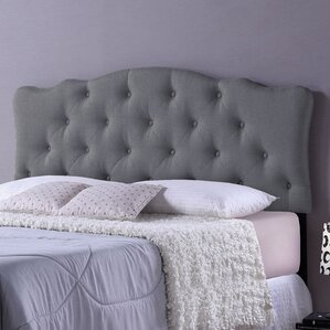 Rita Grey Scalloped Queen Upholstered Panel Headboard by Wholesale Interiors