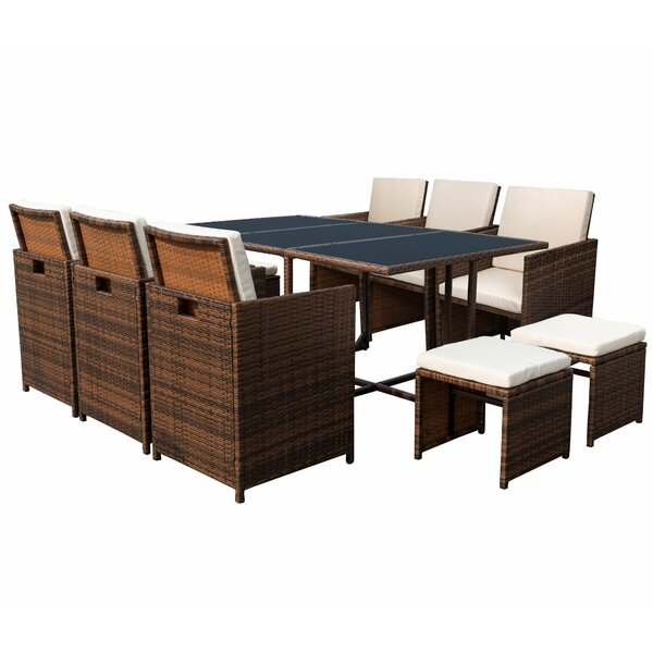 Amher 11 Piece Complete Patio Set with Cushion by Rosecliff Heights