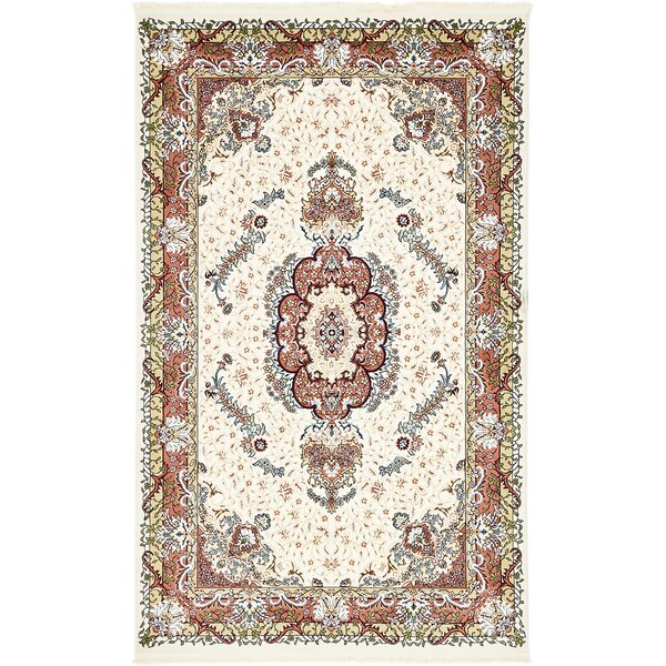 Courtright Cream/Burgundy Area Rug by Charlton Home