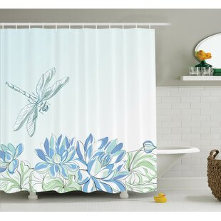Affordable Peterman Country Waterlilies Flowers and Dragonflies Simplistic Home Eco Nature Theme Artwork Shower Curtain By August Grove
