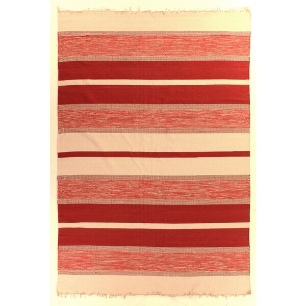 Soft Flat Weave Cotton Red/Ivory Area Rug by Exquisite Rugs