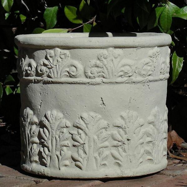 Motif Well Round Ornate Cast Stone Pot Planter by Designer Stone, Inc