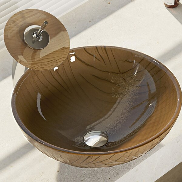 Tawny Glass Circular Vessel Bathroom Sink with Faucet by René By Elkay