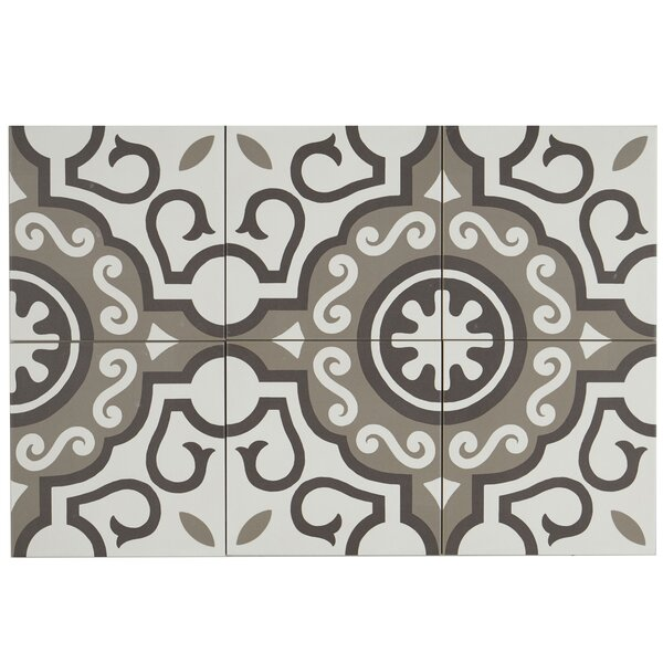 Encausto 8 x 8 Porcelain Field Tile in White/Brown