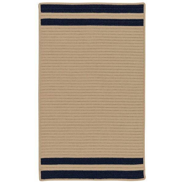 Kellie Stripe Hand-Braided Brown/Navy Indoor/Outdoor Area Rug by Breakwater Bay