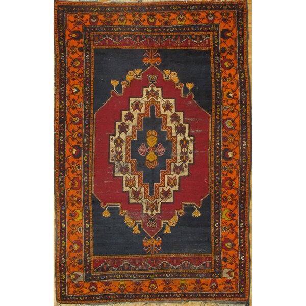 Turkish Oushak Design Hand-Knotted Red/Blue Area Rug by Pasargad NY