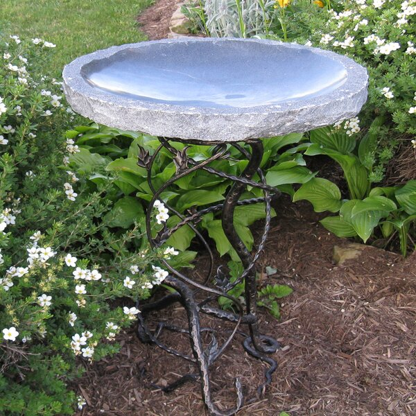 Vineleaf Iron Base Birdbath by Stone Age Creations