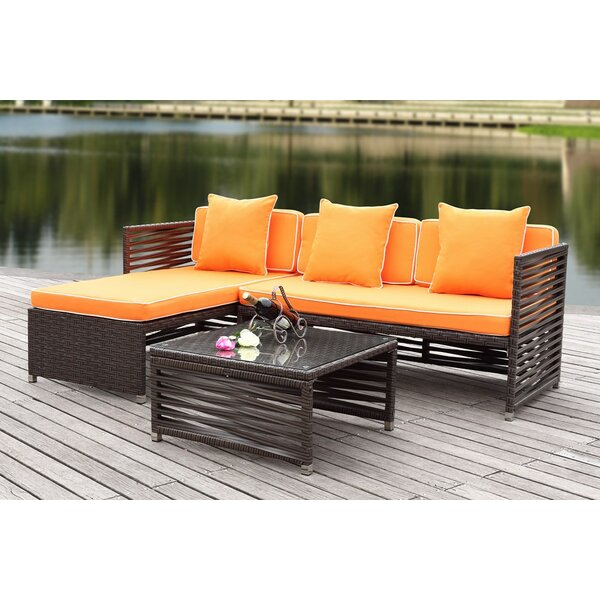 Eulalia 3 Piece Sectional Set with Cushions by Mercury Row