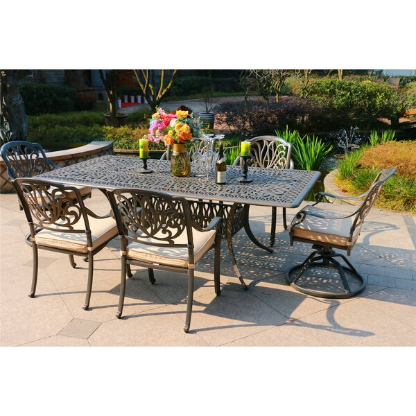 Gunter 7 Piece Dining Set with  Cushions