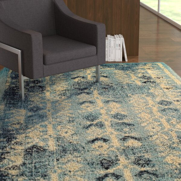 Mya Blue/Cream Area Rug by Ebern Designs