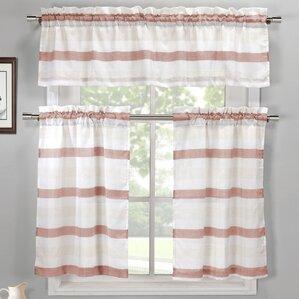 Ferguson 3 Piece Linen Kitchen Curtain Set