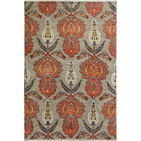 One-of-a-Kind Palmquist Hand-Knotted Wool Gray/Red Area Rug by Bloomsbury Market