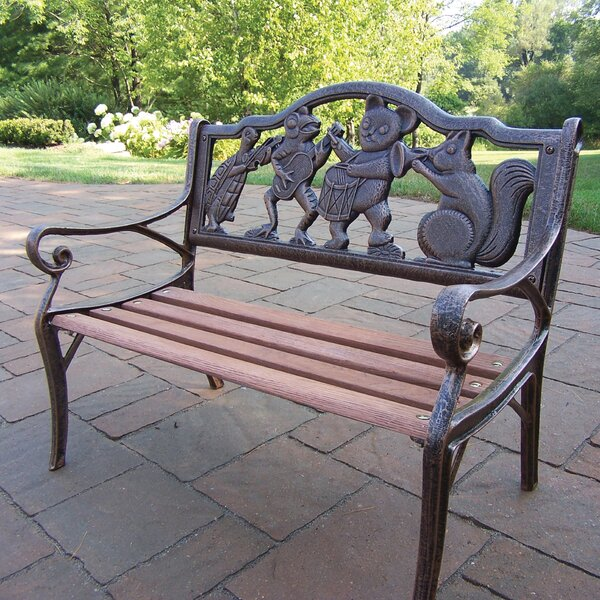 Band Kiddy Wood and Cast Iron Park Bench by Oakland Living