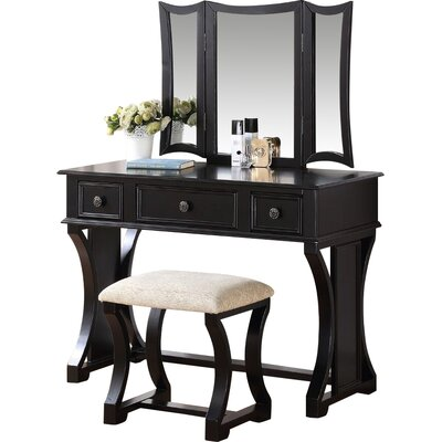 Adelynnline Vanity Set with Mirror Color: Black by Winston Porter