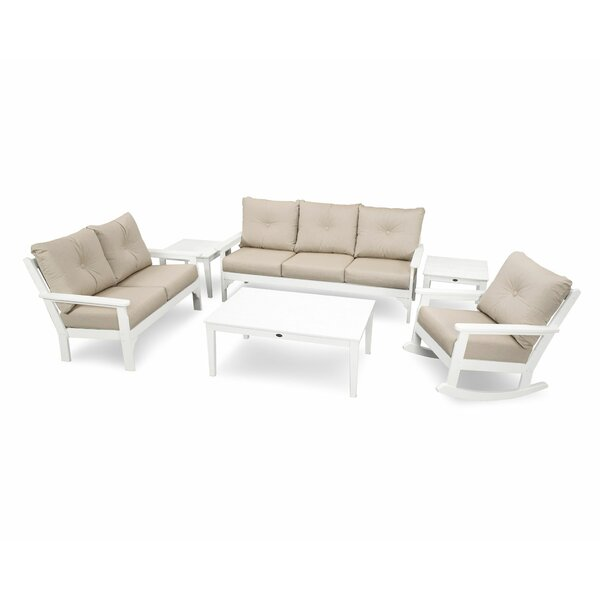 Vineyard 6 Piece Sunbrella Sofa Seating Group with Cushions by POLYWOOD®