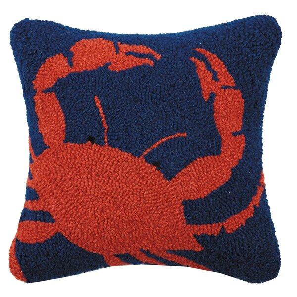 Tyra Crab Hook Wool Throw Pillow by Breakwater Bay