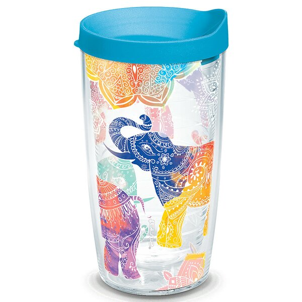 On The Water Mehndi Elephant Plastic Travel Tumbler by Tervis Tumbler