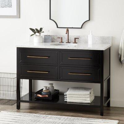 Signature Hardware Vanity Cabinet White Carrara Marble Oval Undermount Sink Base Vanities
