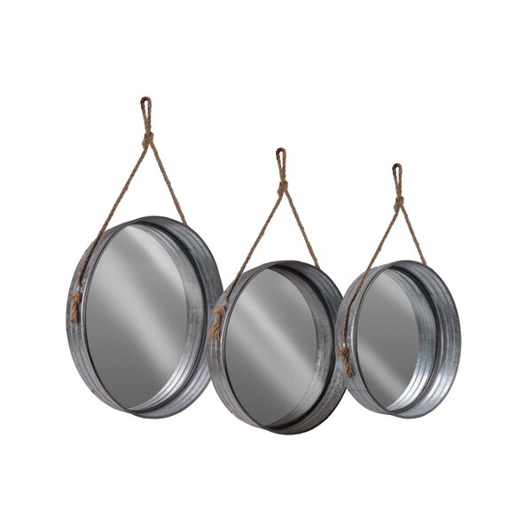 Romana 3 Piece Metal Round Wall Mounted Mirror Set by Gracie Oaks