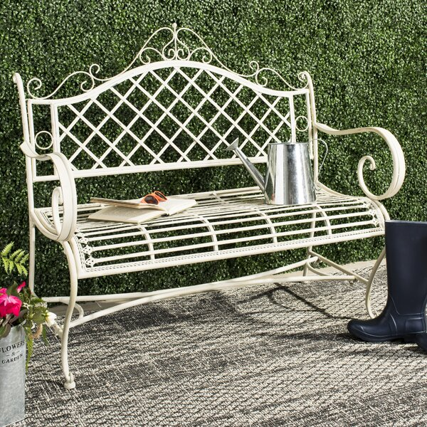Hornellsville Wrought Iron Garden Bench by Ophelia & Co.