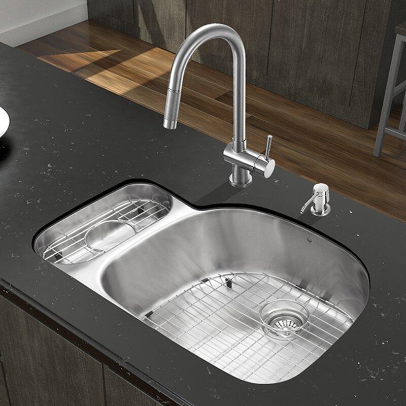 32 inch undermount 80 20 double bowl 18 gauge stainless steel kitchen sink with gramercy vigo 32 inch undermount 80 20 double bowl 18 gauge stainless steel      rh   wayfair com