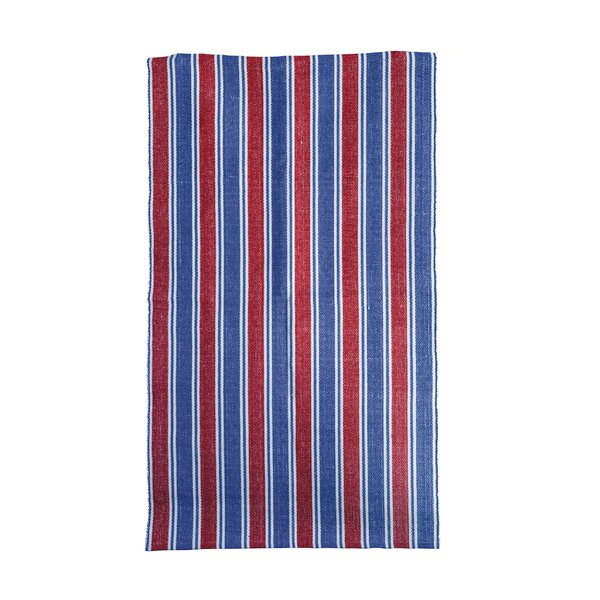 Fenley Striped Red/Navy Area Rug by Breakwater Bay