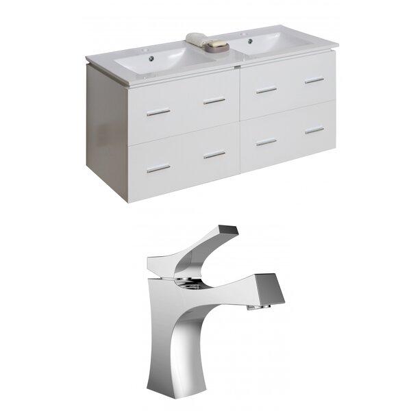 Hinerman 48 Wall-Mounted Double Bathroom Vanity Set