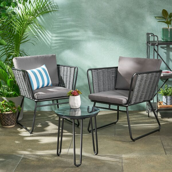 Leonard Outdoor Rope Weave Chat 3 Piece Seating Group with Cushions by Brayden Studio