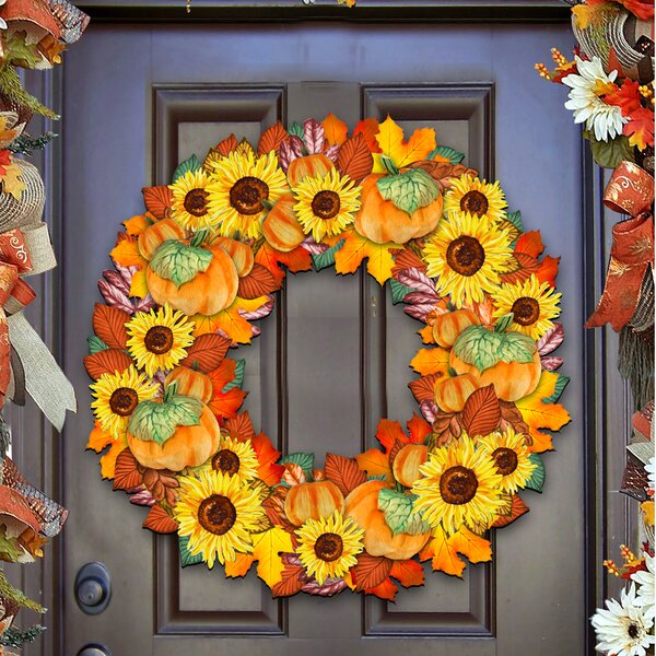 Flower Fall Wreath Door Hanger by The Holiday Aisle