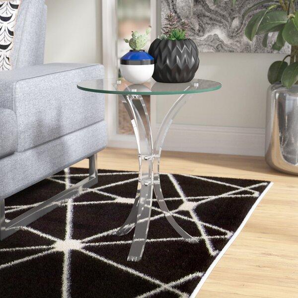 Savoy Glass Top End Table by Orren Ellis Orren Ellis